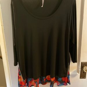 Black Blouse with Multi-Color Trim and Zip Detail